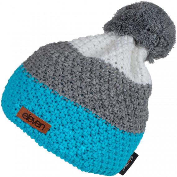 Pletená čepice Eleven Pom Blue/Grey