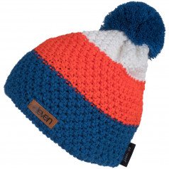 Knitted beanie Eleven POM Orange/Blue