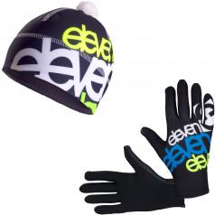 Běžecké rukavice + čepice ELEVEN Fluo BK