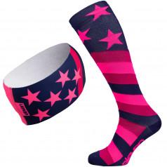 Komresní podkolenky + čelenka Stars Pink