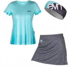 Set běžeckého trika, sukně a čelenky Eleven Stripe
